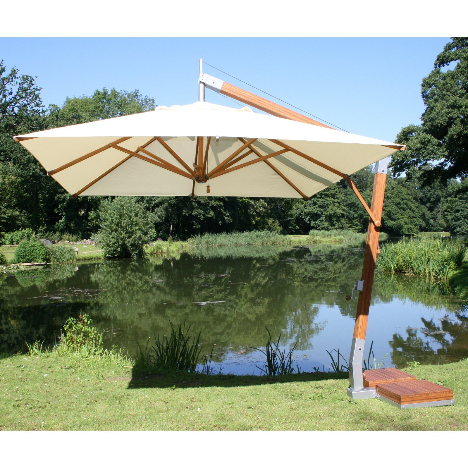Bambrella 8.5 X 11.5 Ft. Rectangular Bamboo Cantilever Umbrella Ice White Products In 2019
