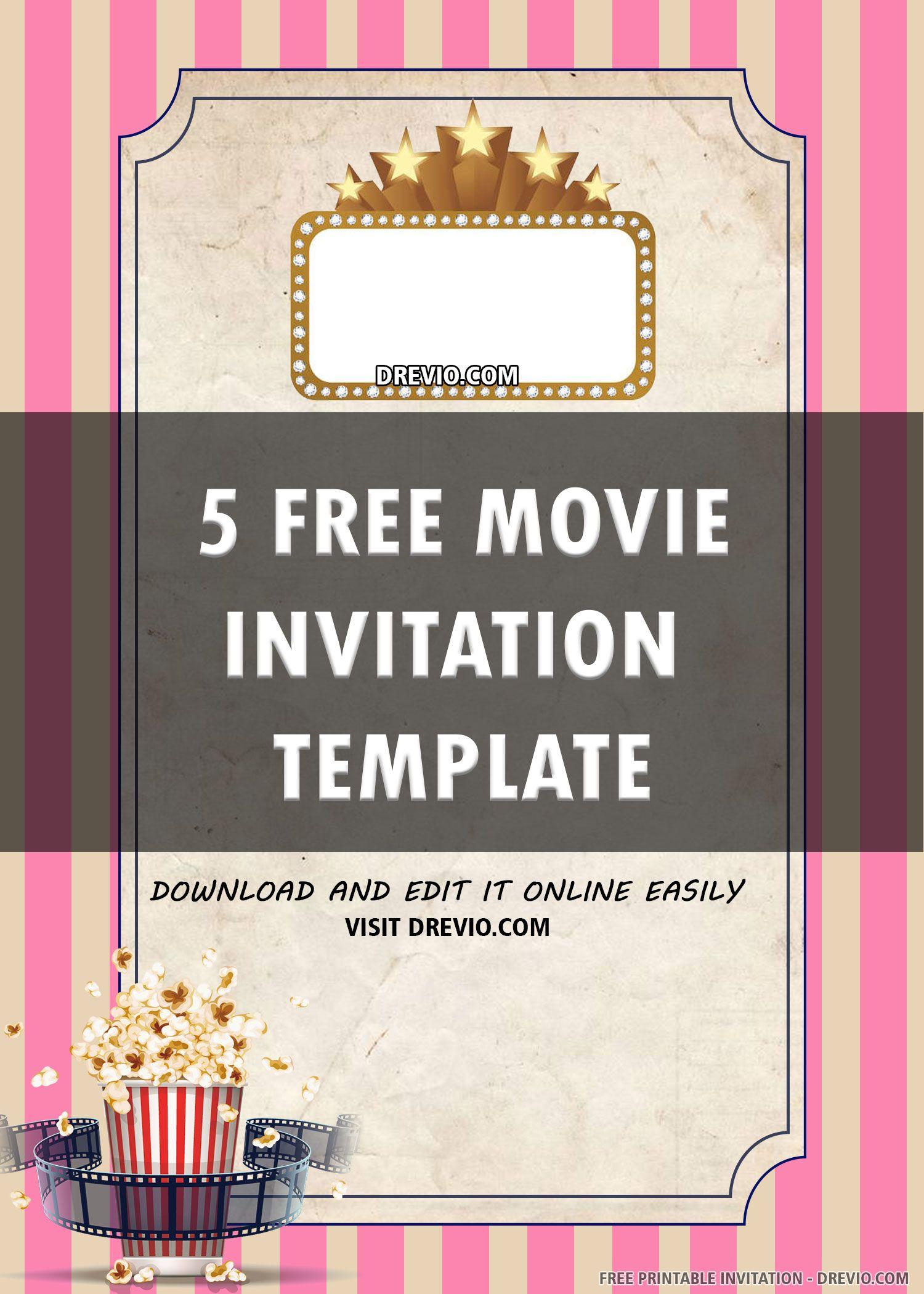 Free Printable Movie Night Invitation Template Movie Night Invitations Movie Ticket Invitations Free Printable Birthday Invitations