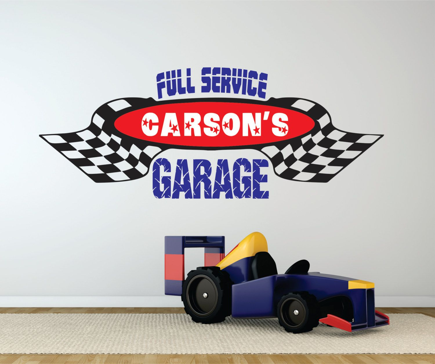 Checkered flag garage decal personalized wall decal boys or girls bedroom car racing
