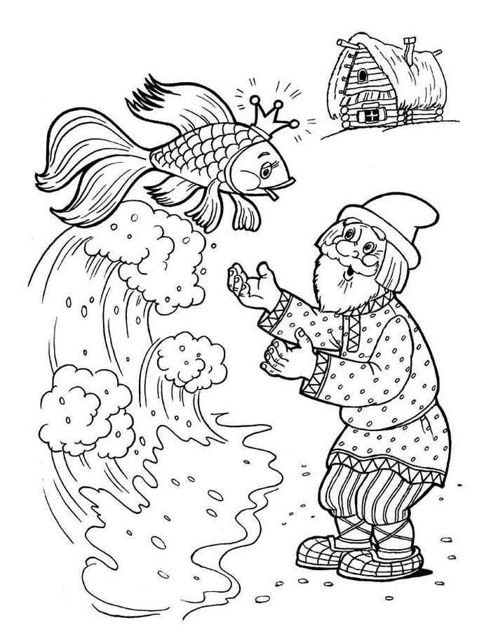 Coloring coloring pages for The Tale of the Fisherman and the Fish ...