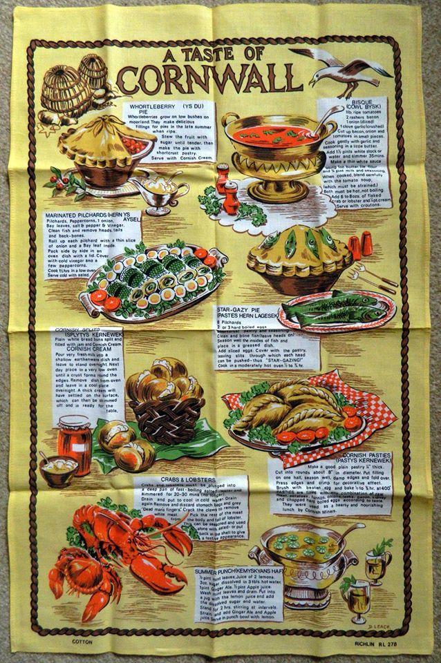 'A TASTE OF CORNWALL' Cornwall Souvenir tea towel ღ⊰n