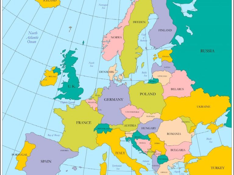 Download Map Of Europe Labeled Countries Major Tourist ...
