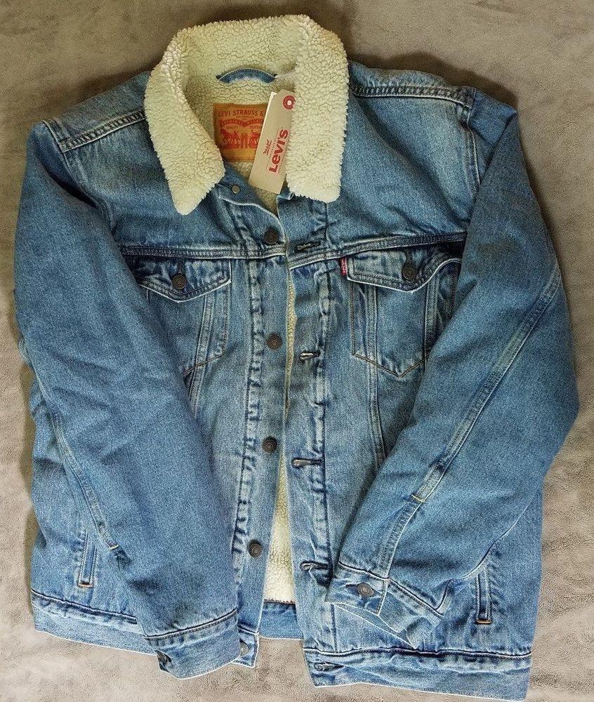 Levis Trucker Jacket Sherpa Mens Xl New Light Wash Ebay Clothing