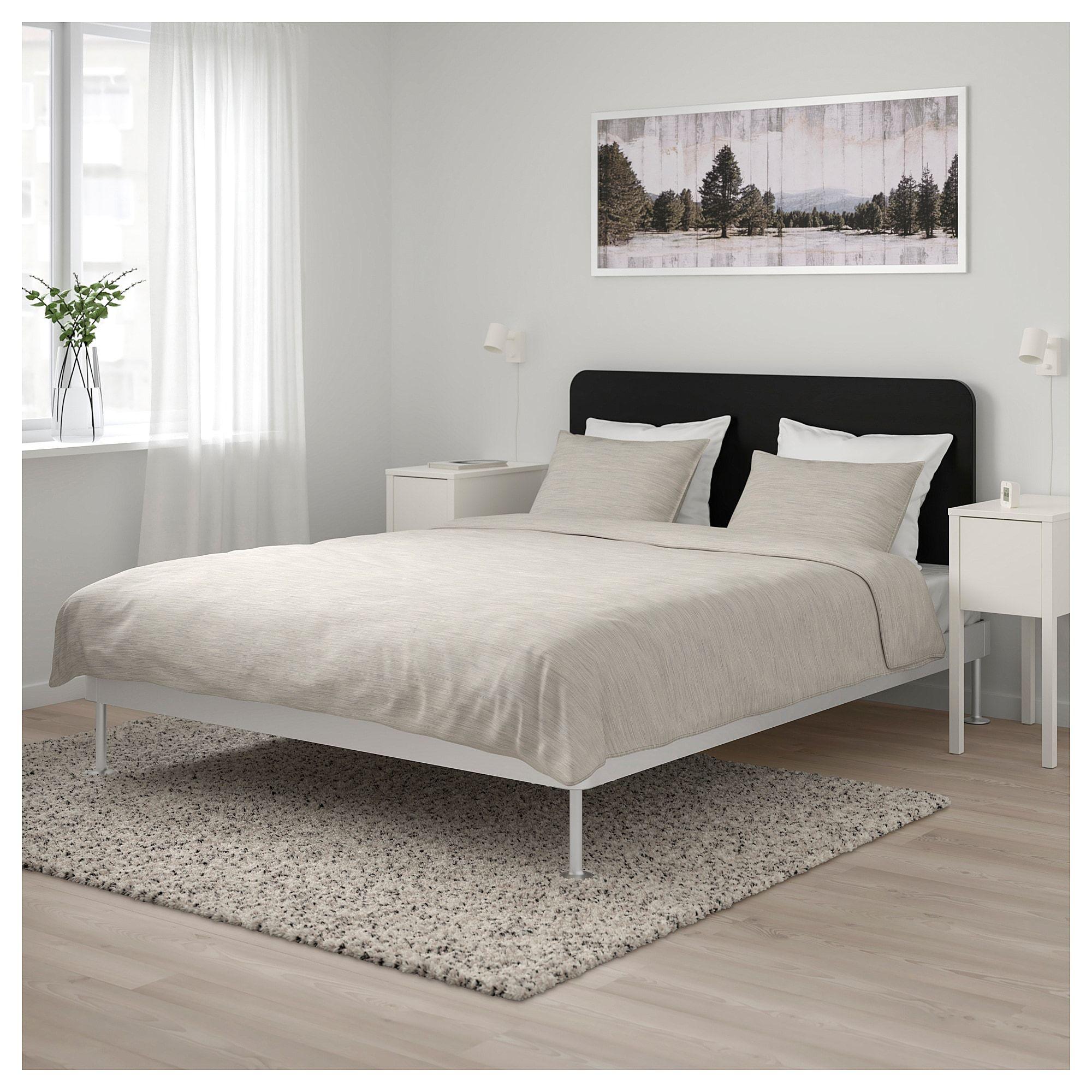 Ikea Delaktig Bed Frame With Headboard Aluminum Black In