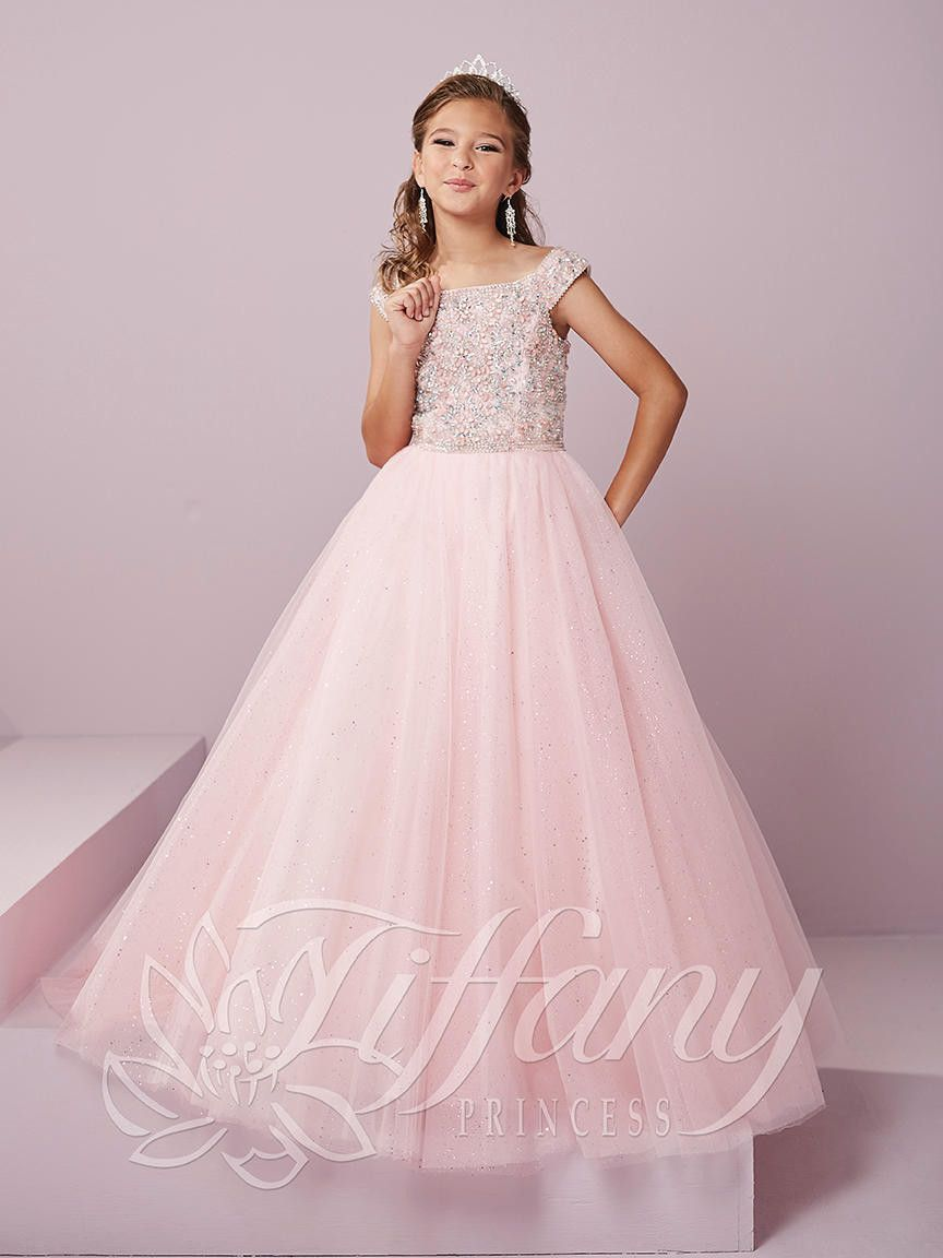 16dedf62644b Tiffany Princess 13491 Ice Pink Off the Shoulder Pageant Dress ...