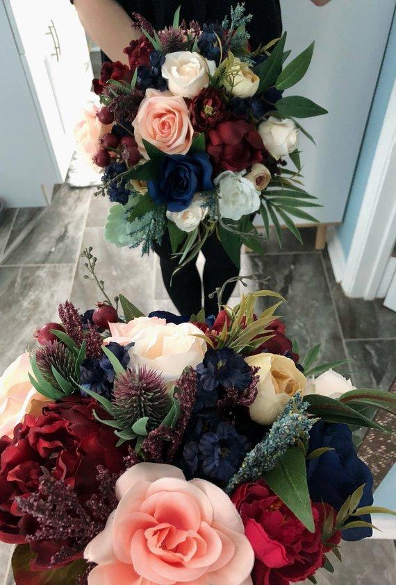 Wedding Bouquet Burgundy Navy Blue Red Peony Eucalyptus Wedding