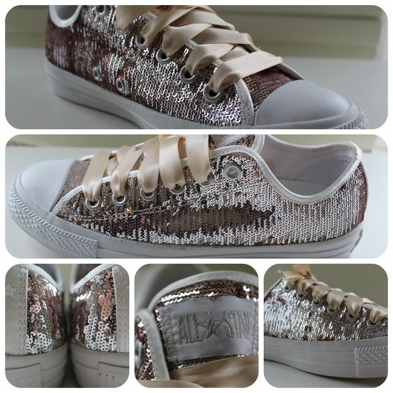 Rose gold sequin sparkly satin bridal converse all stars UK size 5.5 http://