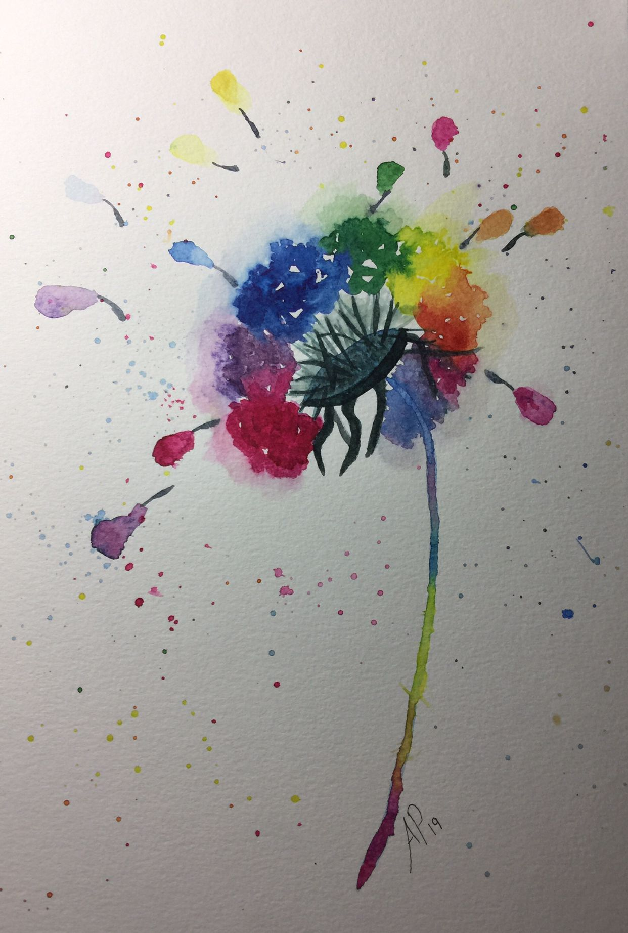Watercolor Dandelions Rainbow Wishes Amy Pinker Art Sarah