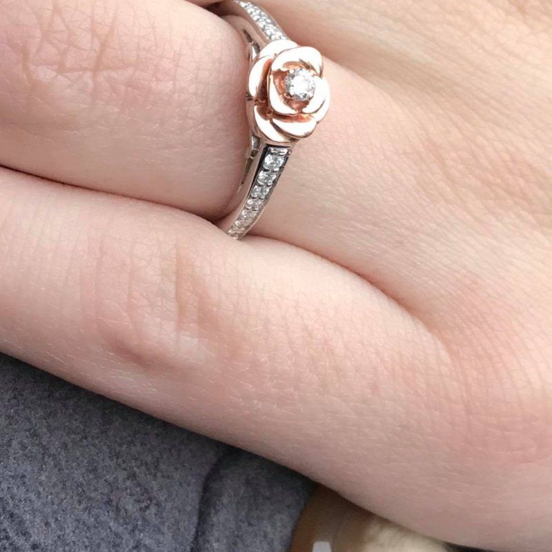 Enchanted Disney 1 5 Ct Tw Diamond Belle Rose Ring In Sterling Silver 10k Rose Gold Disney Engagement Rings Nameplate Necklace Silver Jewelry