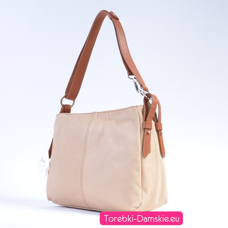 ab8f7cb704b76 Nowe torebki z miękkiej skóry: model w kolorze kremowym - ecru z paskami  jasnobrązowymi.