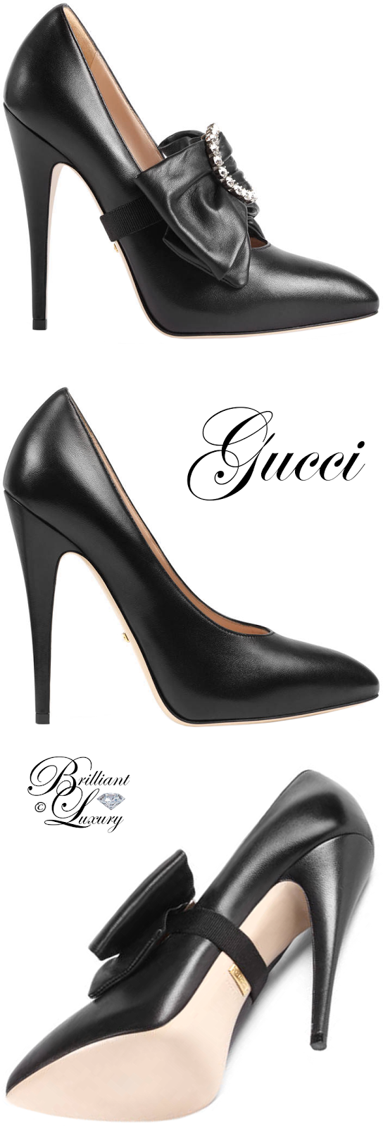 85cdb377736a Brilliant Luxury ♢ Gucci Leather pump with removable leather bow