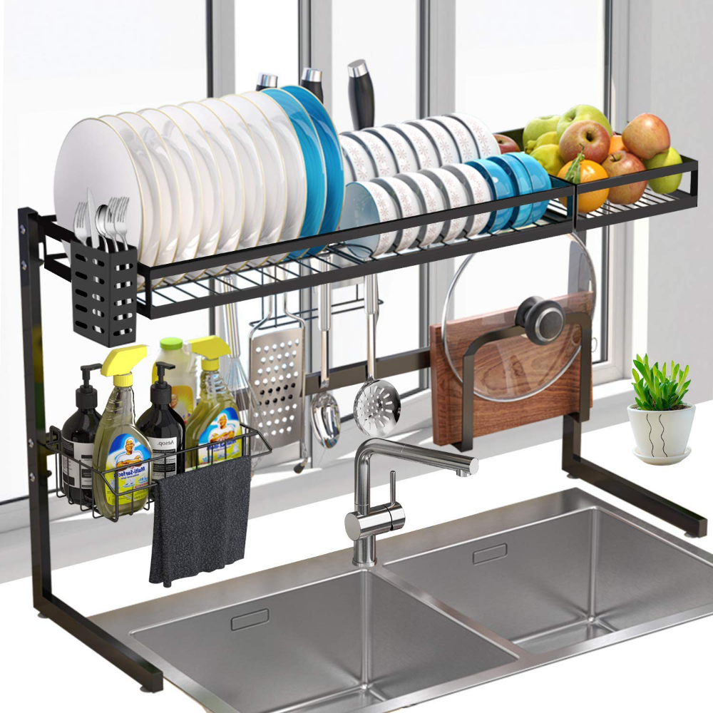 Amazon Shoppers Love This G Ting Over Sink Dish Rack In 2020 Double Kitchen Sink Steel Storage Rack Rack Design