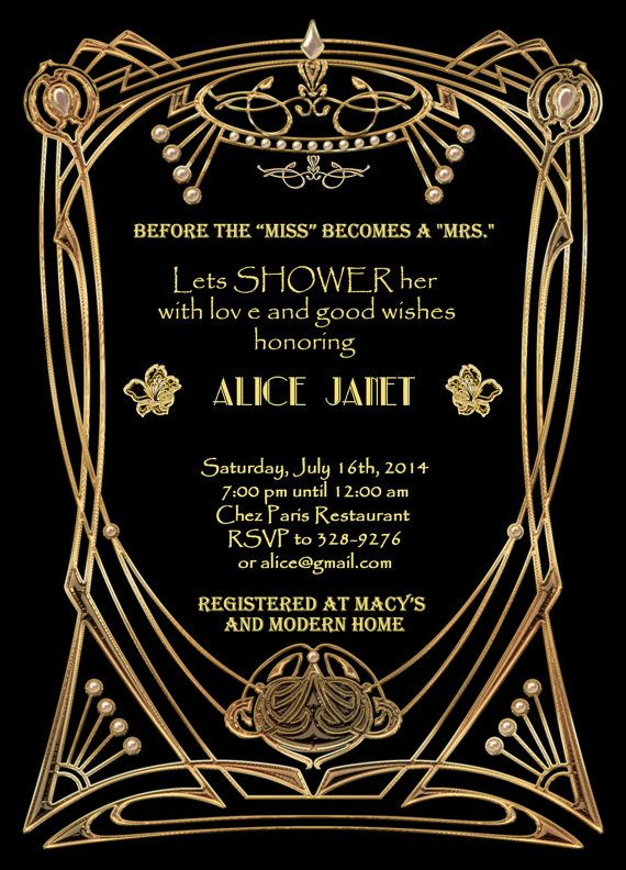 Great gatsby style art deco bridal shower invitation by studiodmd great gatsby style art deco bridal shower invitation by studiodmd filmwisefo Gallery