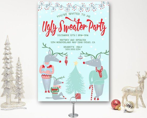 Ugly Sweater Christmas Party Invitation - Ugly Sweater Holiday Party