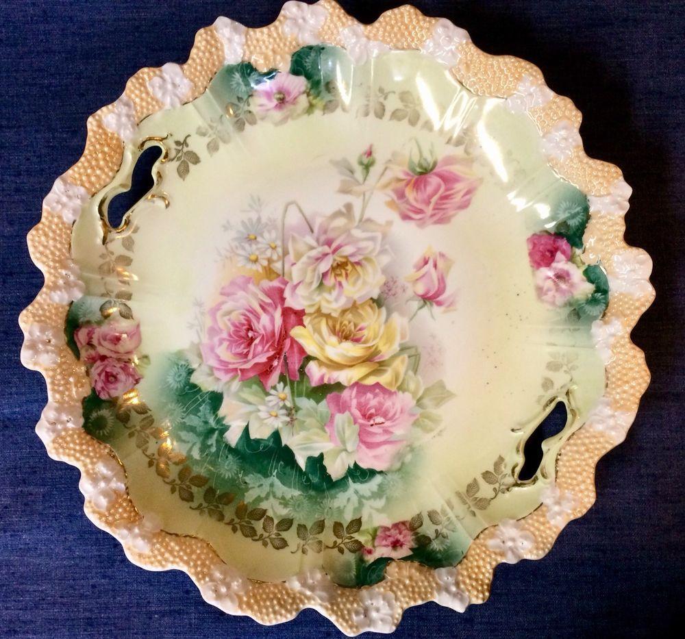 Details About R S Prussia Red Mark Elegant Porcelain Bowl W Roses Decoration Two Handles Antique Dishes Vintage Dishes Porcelain Dolls For Sale