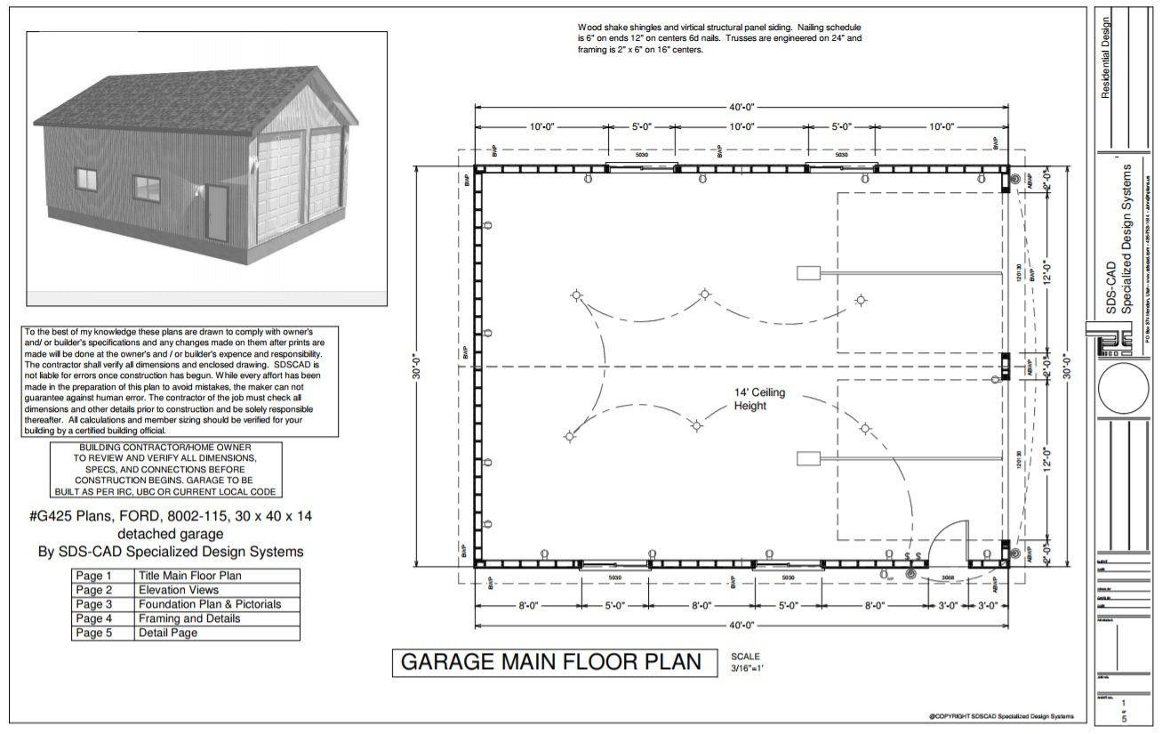 G425 Plans 30 X 40 X 14 Rv Garage Plans Rv Garage Plans Garage Plans Rv Garage