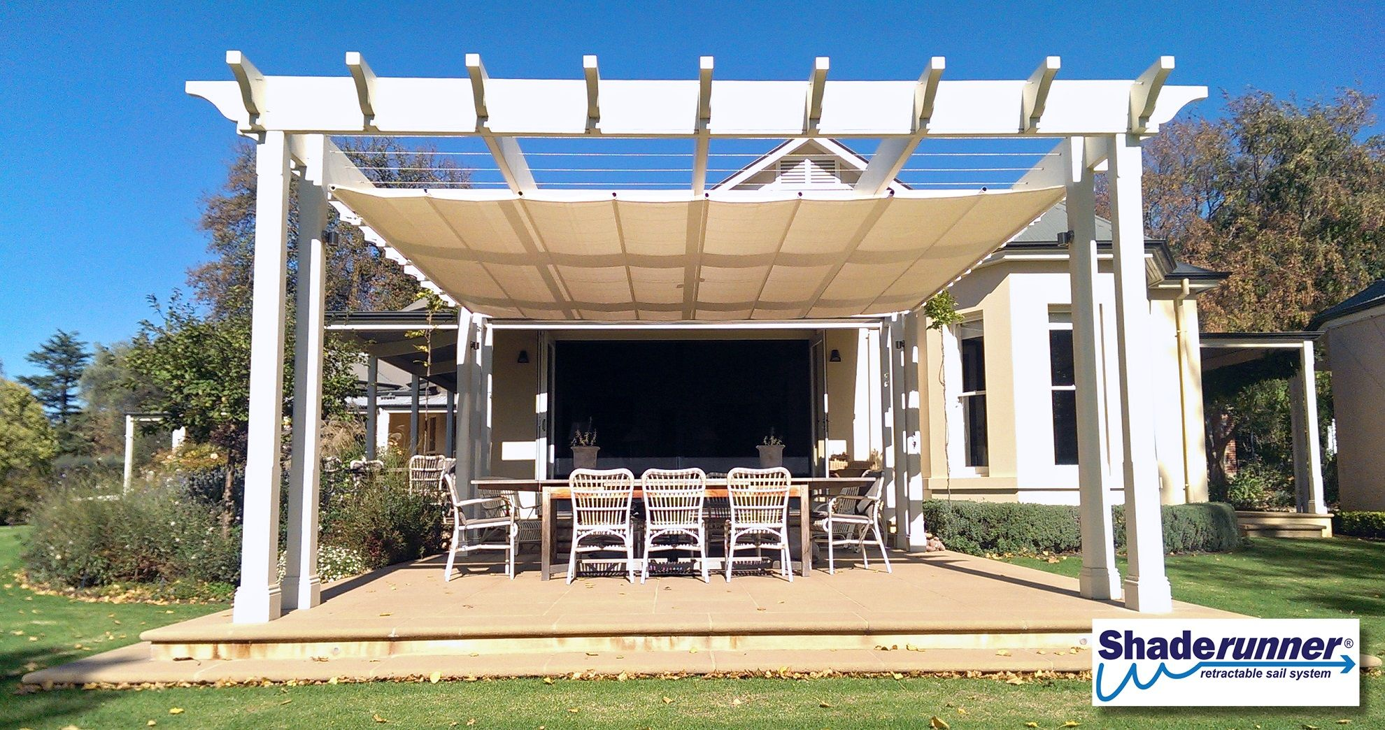 New Wave Shade Version 3 Retractable Shades New Product Custom Size Commercial Quality Shade Sails Llc Retractable Shade Pergola Shade Shade Sail