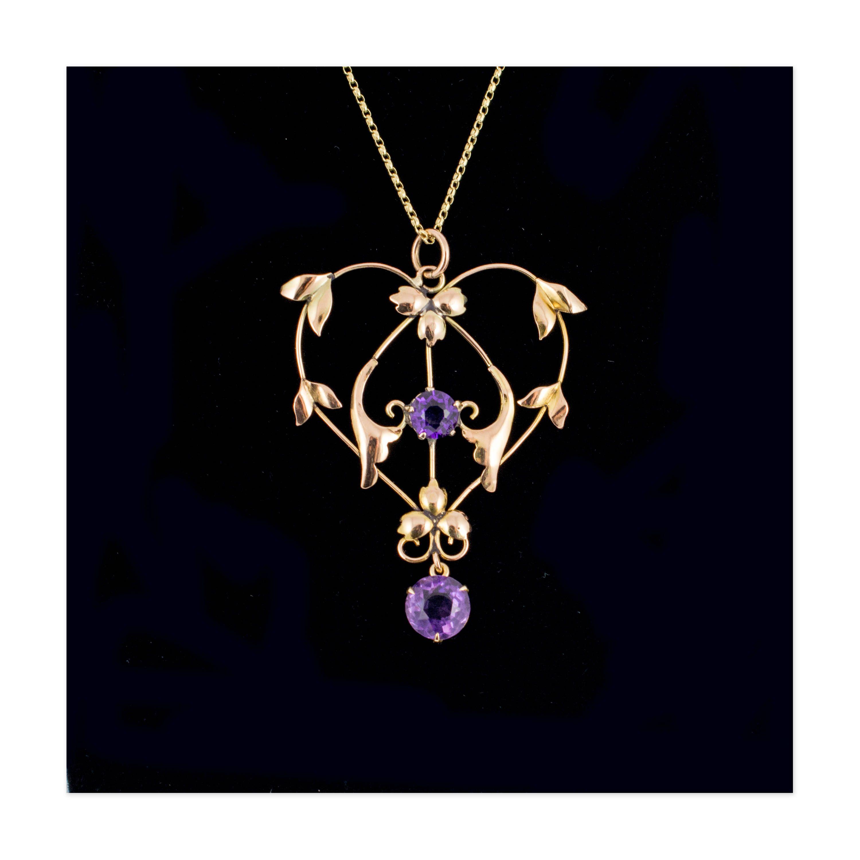 Gorgeous Large Size Antique Amethyst Lavaliere Pendant - heart shape pendant necklace, vintage 9 carat gold pendant, vintage jewellery by HelenasCurio on Etsy