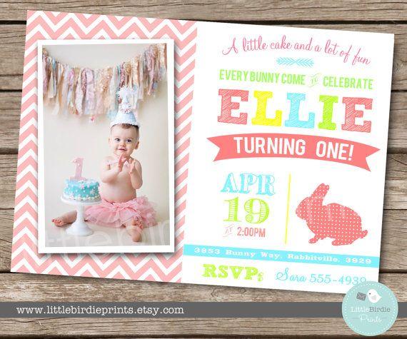 BUNNY BIRTHDAY INVITATION Chevron Invitation First Birthday Party - invitation for 1st birthday party girl
