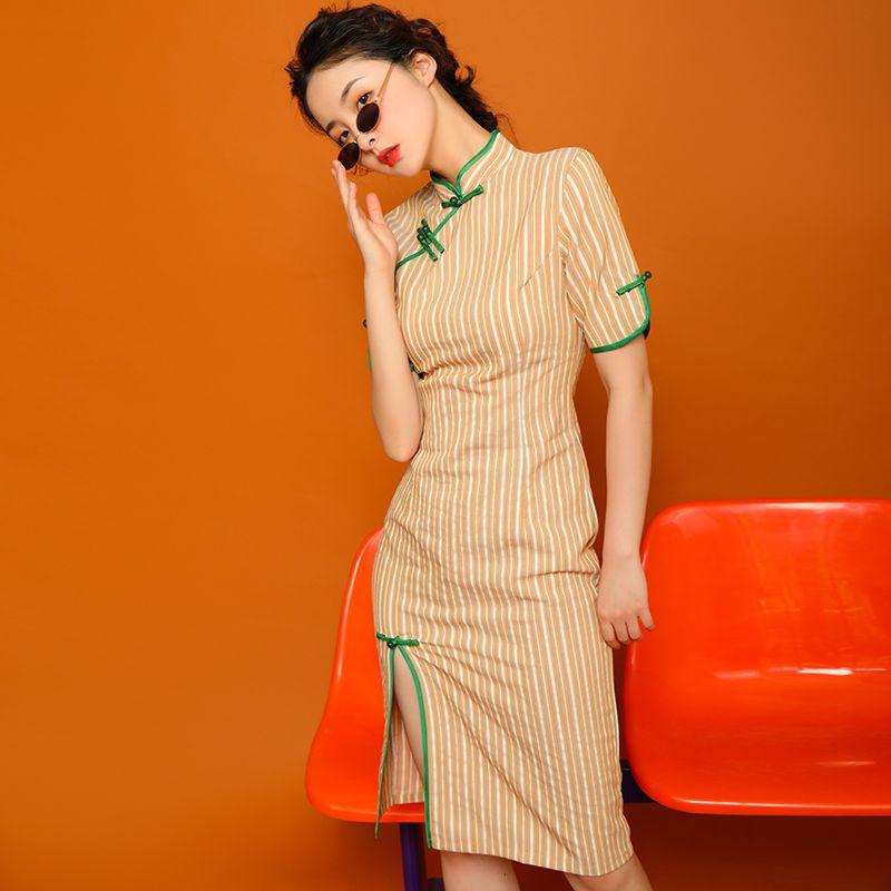 チャイナドレス ワンピース パーティードレス チャイナ風服 二次会 女子会 同窓会 スタンドネック 半袖 膝丈 大きいサイズ s m l ll 3l オレンジ ストライプ柄 縞模様 縦縞 デザイナーファッション 服 美的服