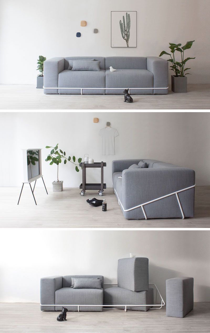 A Simple Metal Frame Contains The Six Cushions That Make Up This Sofa Sofa Design Couch Design Sofa Frame