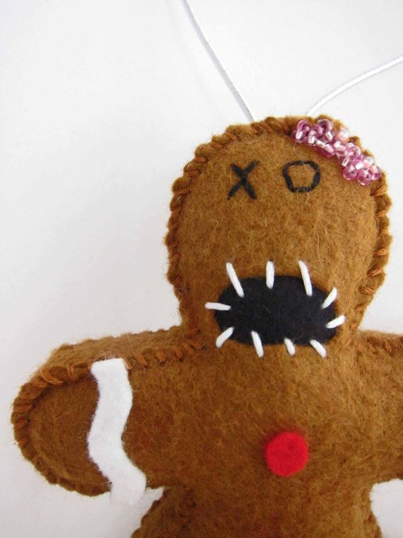 Zombie Gingerbread Man Ornament by MyZombieFriends on Etsy #ChristmasOrnament #GeekCrafts