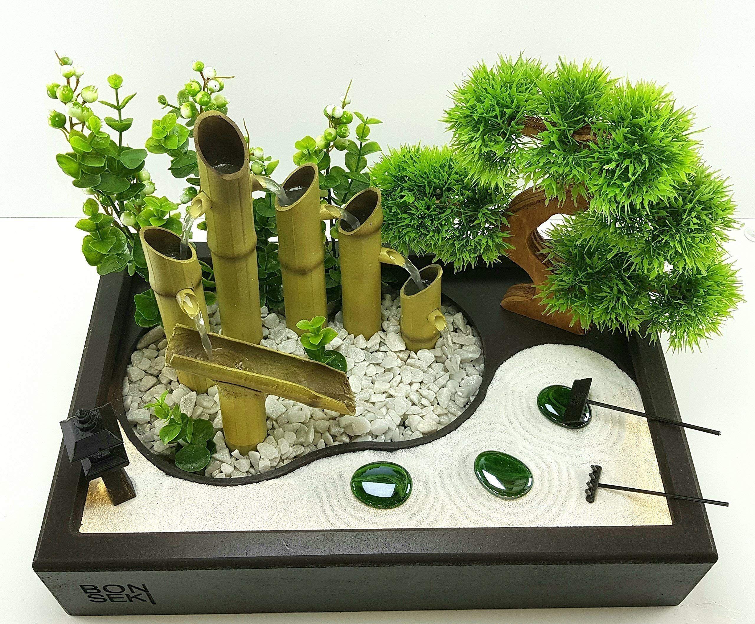 Bonseki Fontana Zen Da Interno 40 X 25cm Nero Con Giardino Zen Da
