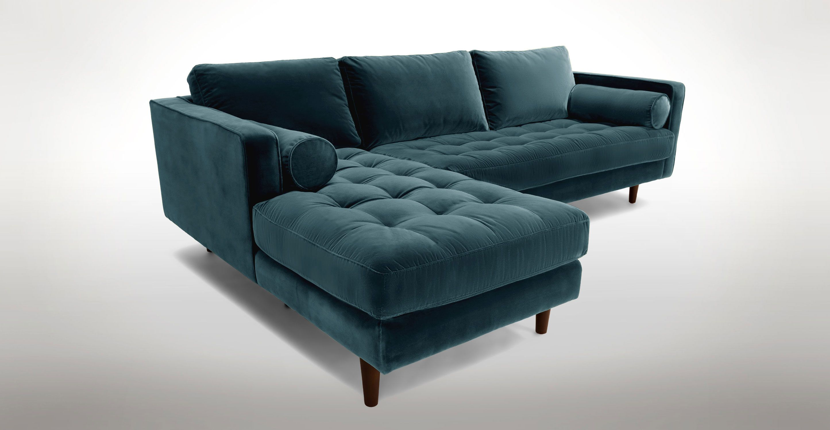 Blue Velvet Left Sectional Tufted