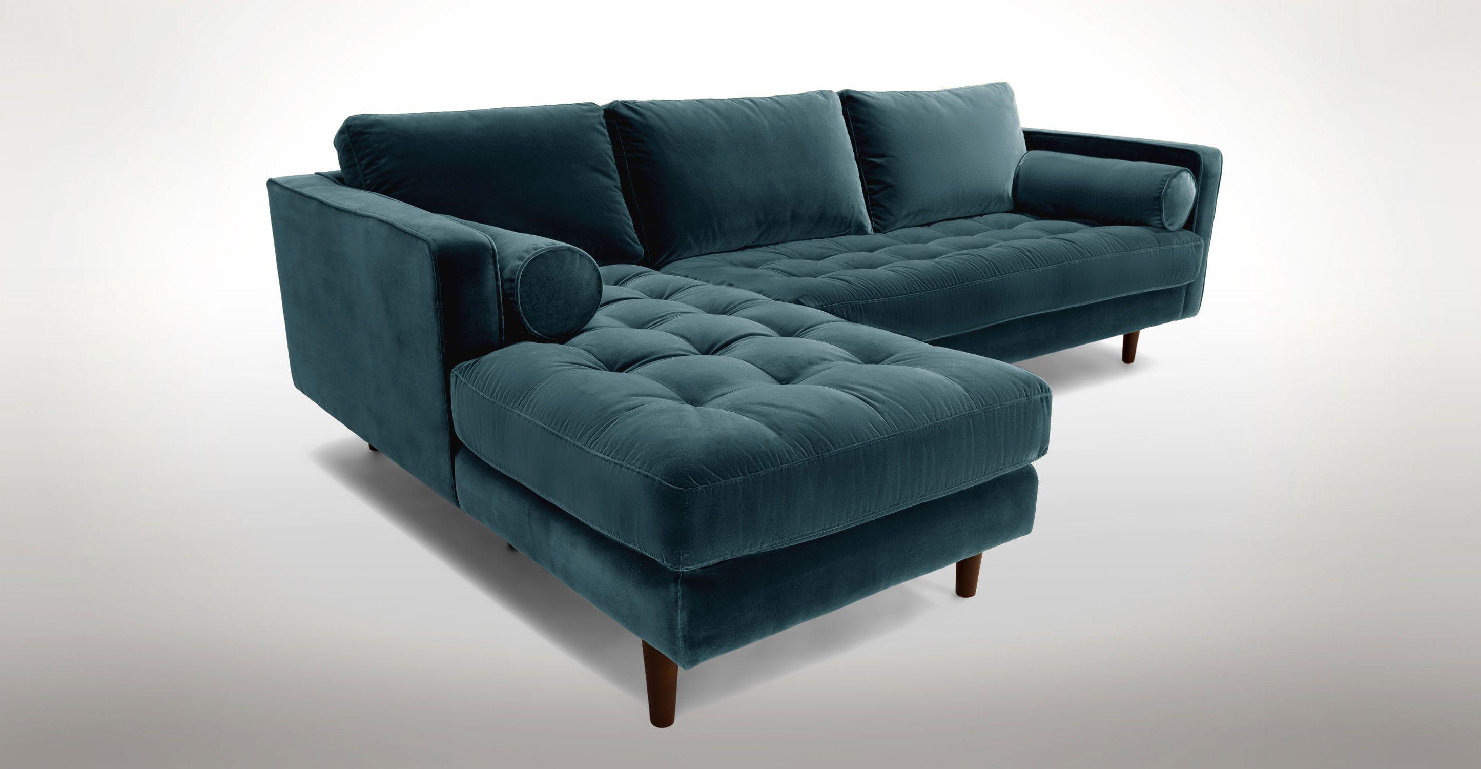 blue velvet left sectional tufted article sven modern furniture