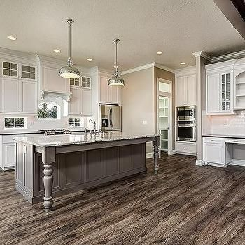 Gray Island With Turned Legs Transitional Kitchen