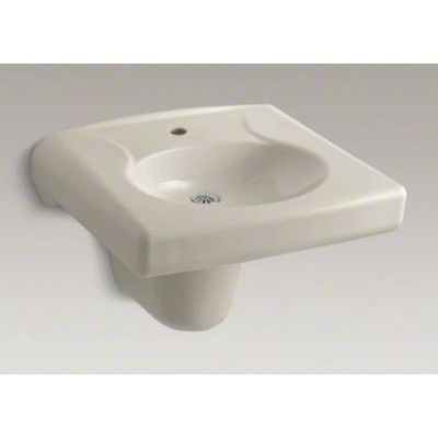 Kohler Brenham Wall Mounted Or Concealed Carrier Arm Mounted Commercial  Bathroom Sink With Single Faucet Hole And Shroud Finish: Sandbar