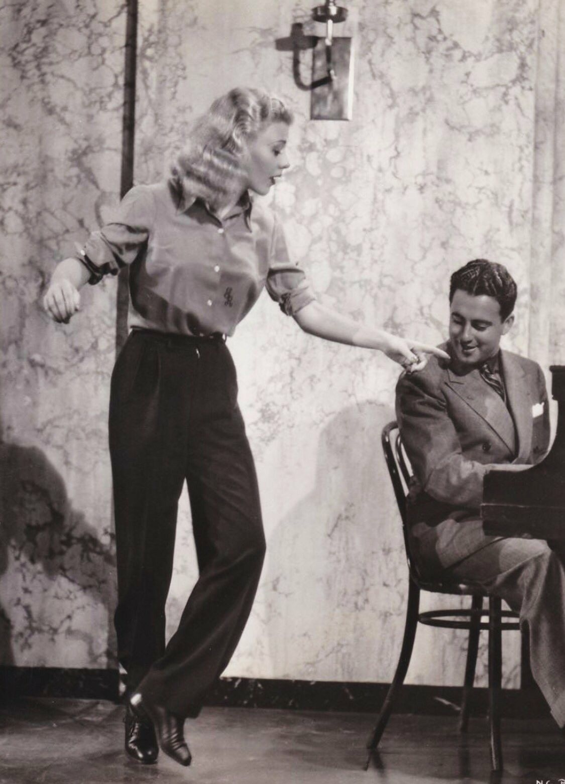 Ginger Rogers rehearsing for Swing Time movie