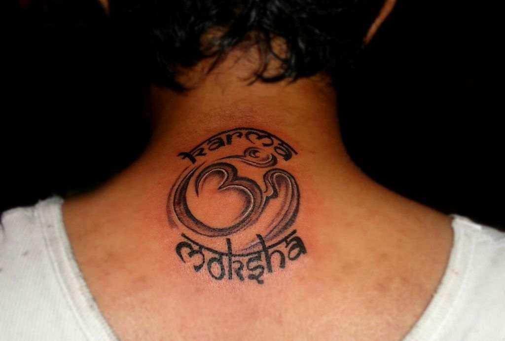 best tattoo designs back of the neck with combination of om karma moksha www. Black Bedroom Furniture Sets. Home Design Ideas