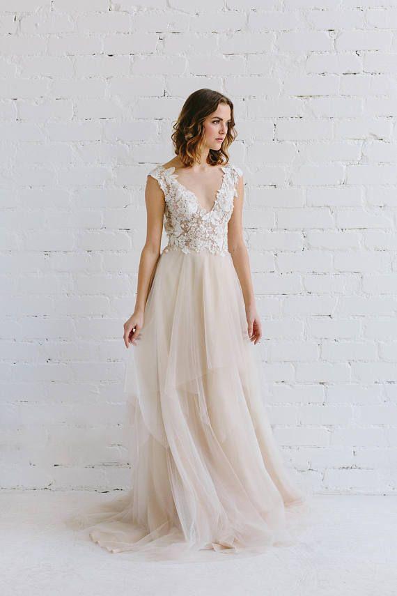 ca5ac3b5d917 Wedding Dress Ivory Champagne Nude Wedding Dress Lace