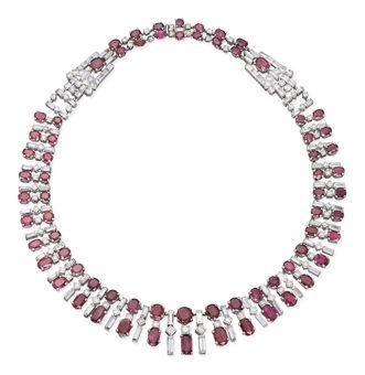 An Art Deco Diamond and Ruby Necklace
