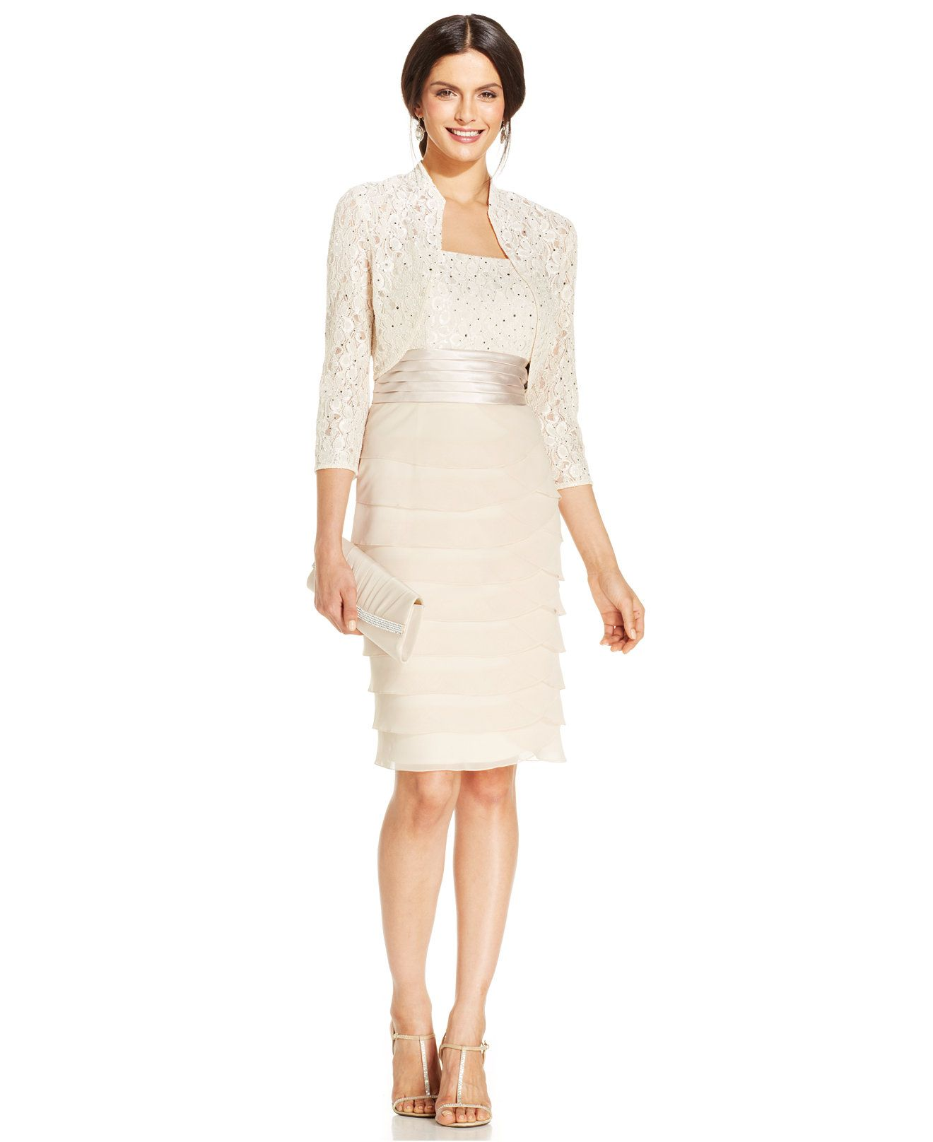 Macy S Wedding Day Dresses: Jessica Howard Sequin-Lace Tiered Sheath And Jacket