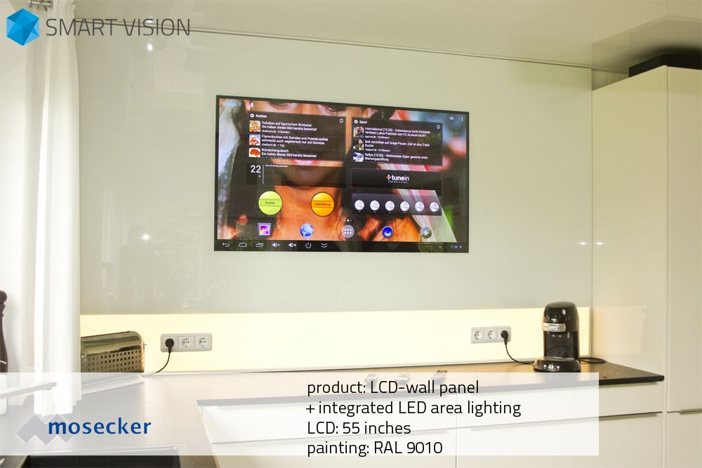 LCD-wall panel with integrated LED area lighting 55 inches LCD - küchenrückwand glas mit led
