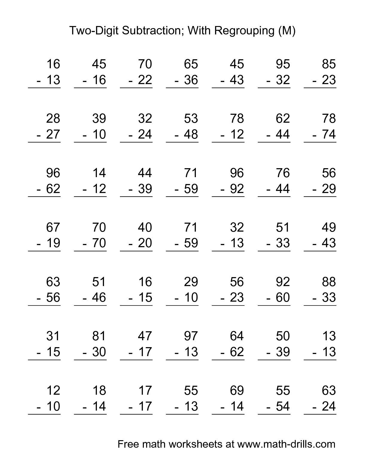 The Two-Digit Subtraction with Some Regrouping -- 49 Questions (M ...