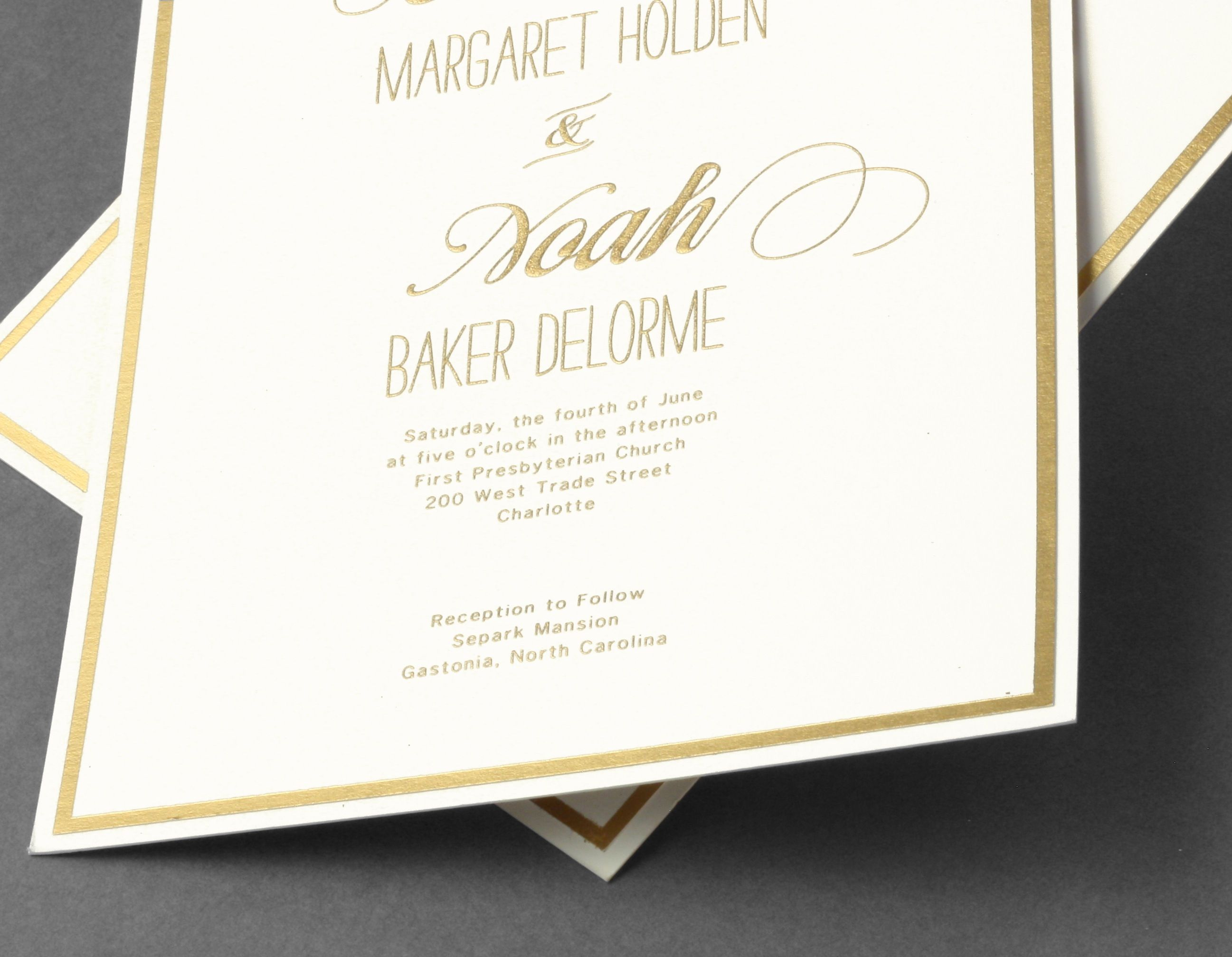 Vera Wang gold border wedding invitation. Available at honey-paper ...