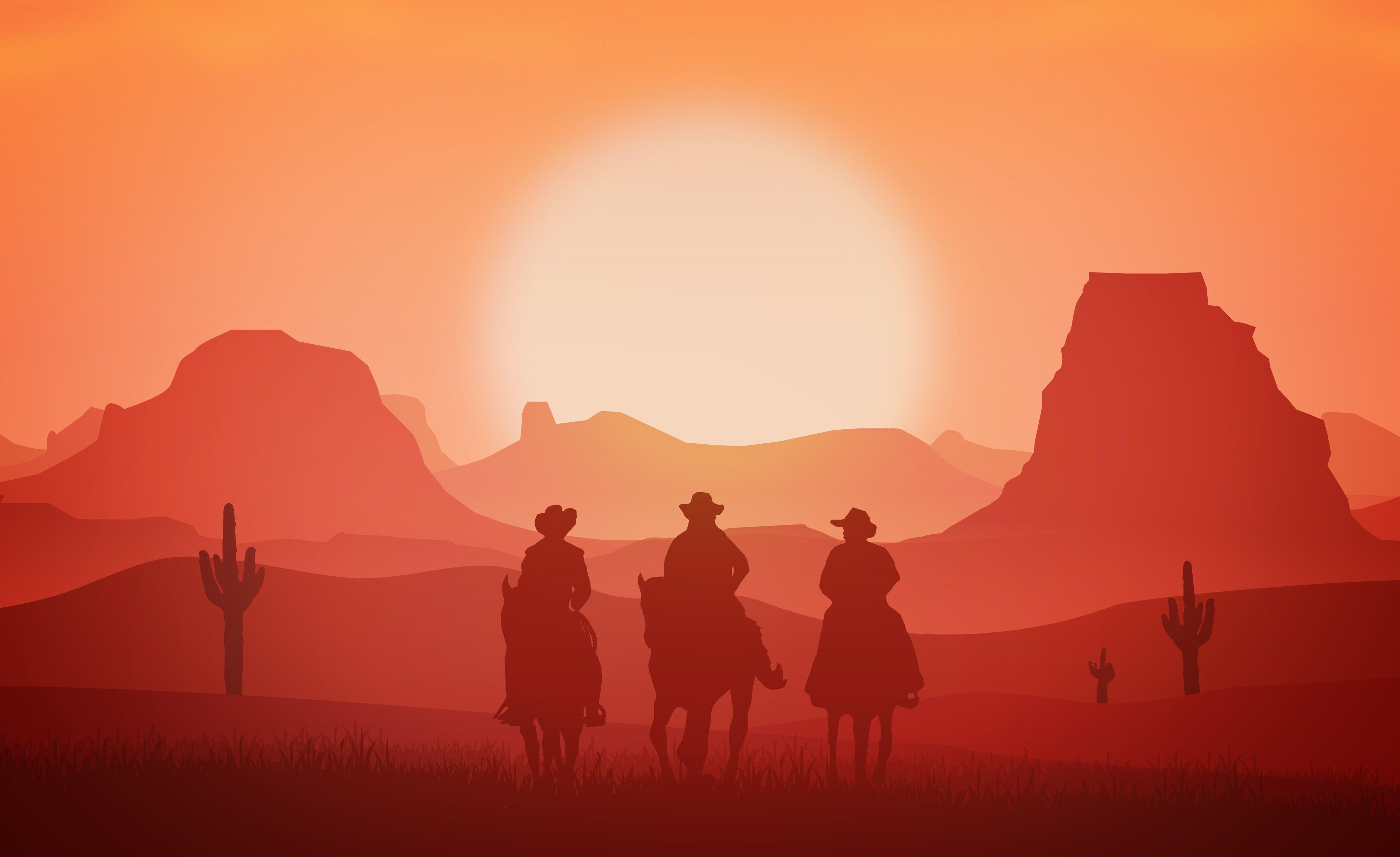 Wild West Cowboys Horses Sunset Western 4k 4k Wallpaper Hdwallpaper Desktop Art Wallpaper Minimalist Wallpaper West Art