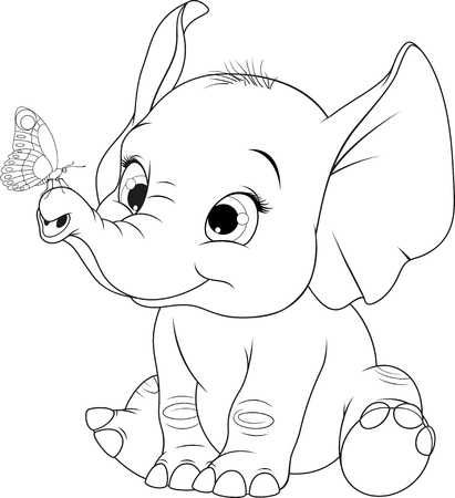 Vector Illustration Cheerful Cute Kid Elephant Playing With Elephant Sketch Animal Coloring Pages Elephant Drawing