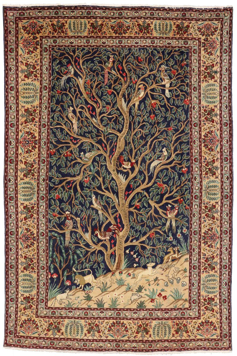 Vintage Persian Tabriz Rug with Garden of Paradise Design | Persian ...