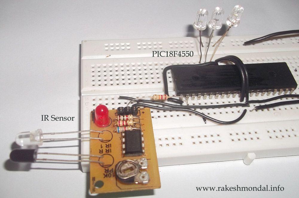 Ir Sensor Circuit Programmed With Pic18f4550 Microcontroller