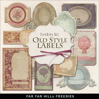 Freebies Old Style Label Kit Far Far Hill Free Database Of Digital Illustrations And Papers Free Digital Scrapbooking Free Labels Labels