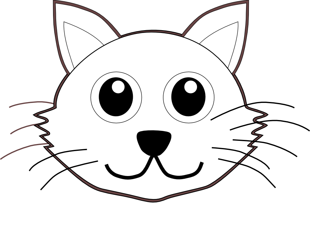 Cat 1 face Cartoon Black White Line Coloring Sheet Colouring ...