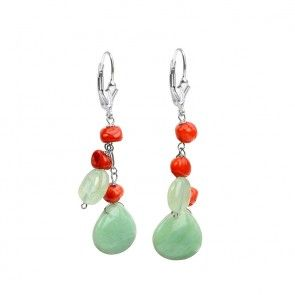 Coral and Chrysoprase Sterling Silver Happy Earrings