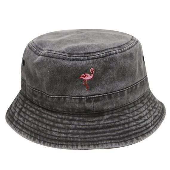 a1aeaf4e7d06c5 Capsule Design Flamingo Washed Cotton Bucket Hats - Dark Gray in ...
