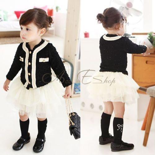 2pcs Baby Girls Outfits Suit Black Top Coat + White Tutu Skirt Dress Spring 5T