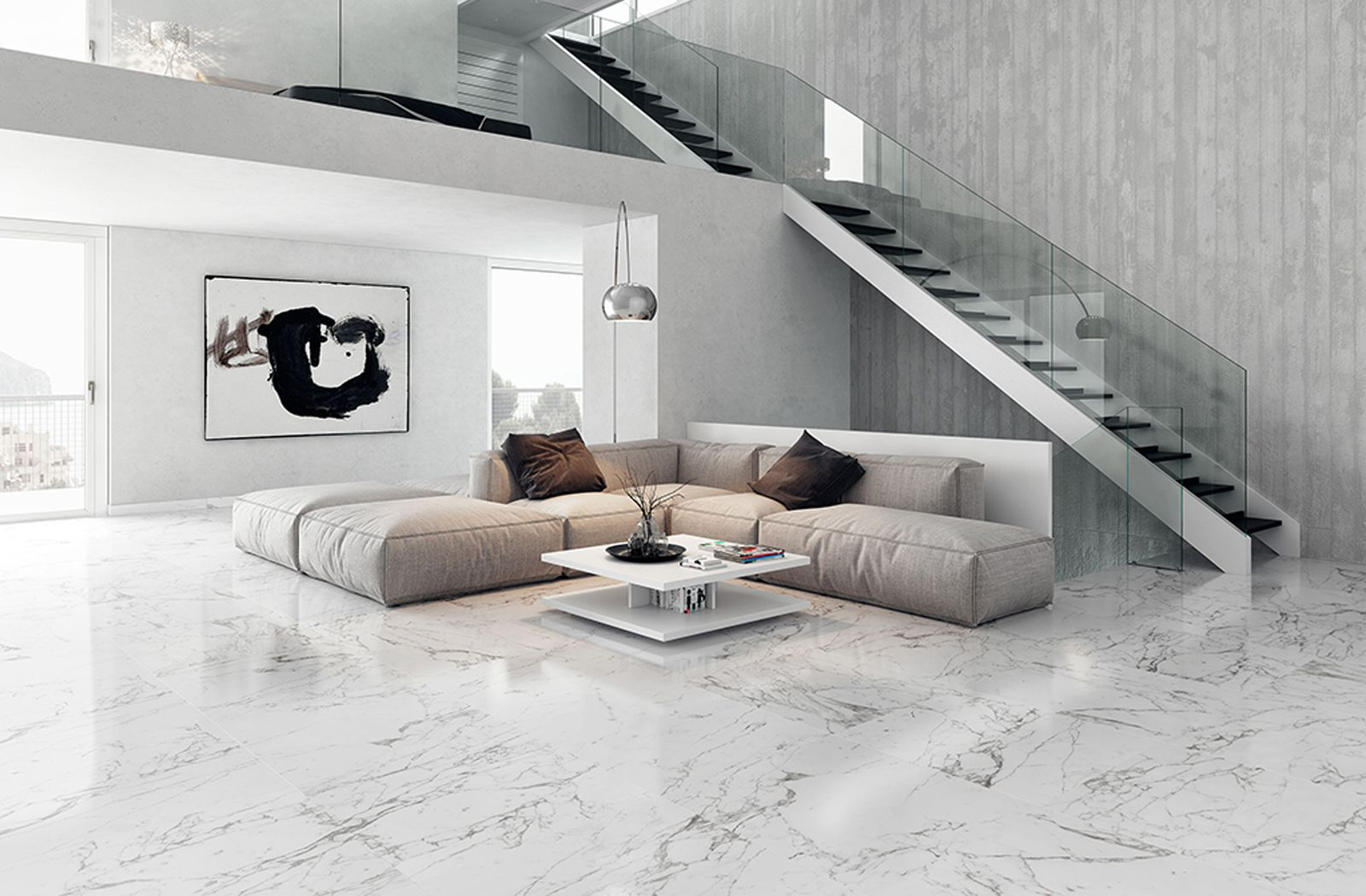 Luxurious marble inspired floor with tiles from the Venato ...