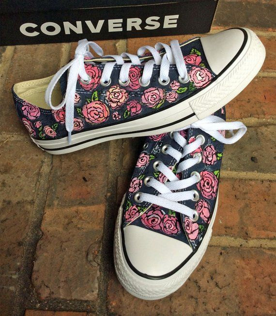 Navy Chucks with Painted Pink Roses Pretty Converse Low Top